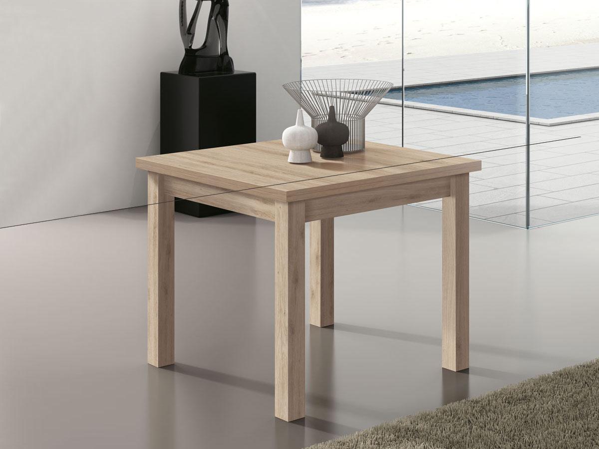 Mueble mesa cuadrada extensible comedor madera melamina for Mesa cuadrada extensible