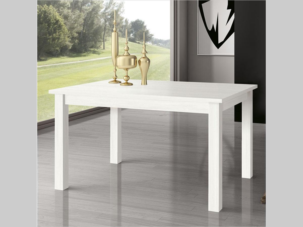 Mueble mesa rectangular extensible comedor madera melamina for Mesa comedor rectangular madera