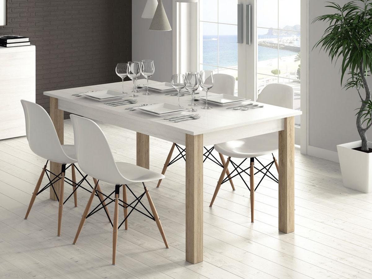 Mueble mesa rectangular extensible comedor madera melamina for Modelos de mesas de comedor de madera