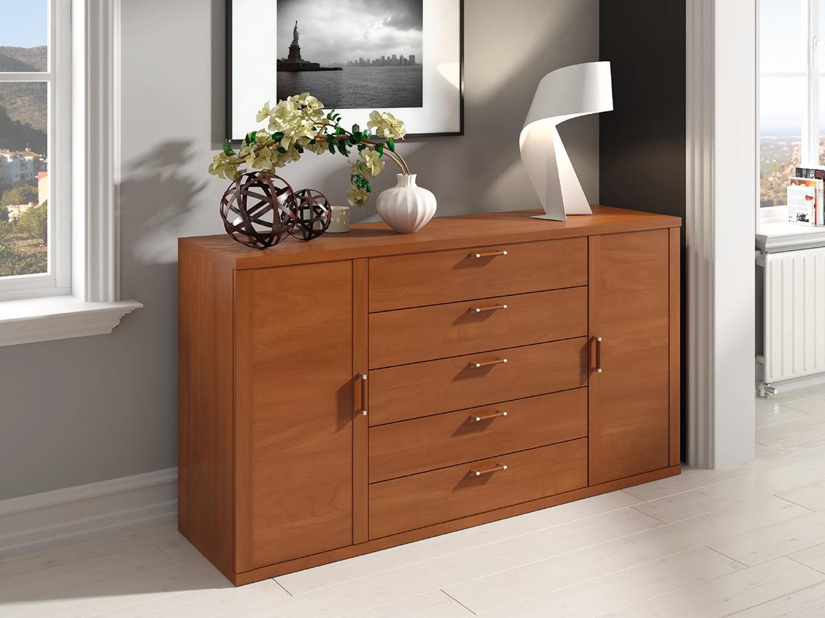 Mueble salon aparador comedor madera melamina moderno economico cerezo muebles ramis d37 delta - Muebles salon madera ...