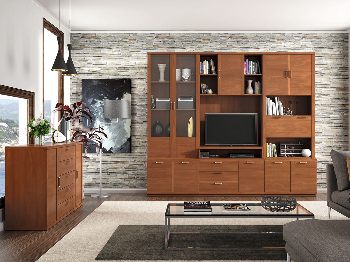 Mueble salon tv comedor aparador libreria madera melamina for Mueble salon television