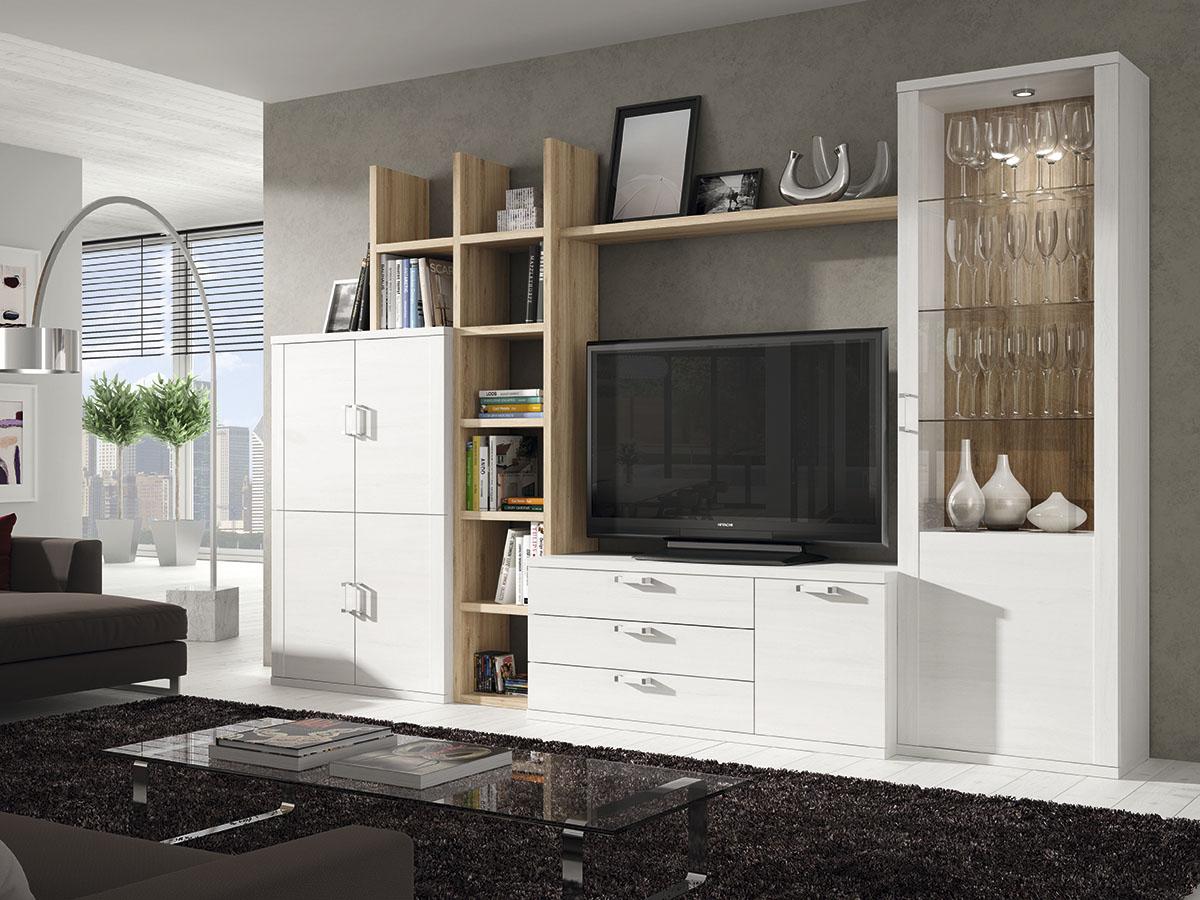 mueble-salon-tv-comedor-madera-melamina-moderno-economico-blanco ...