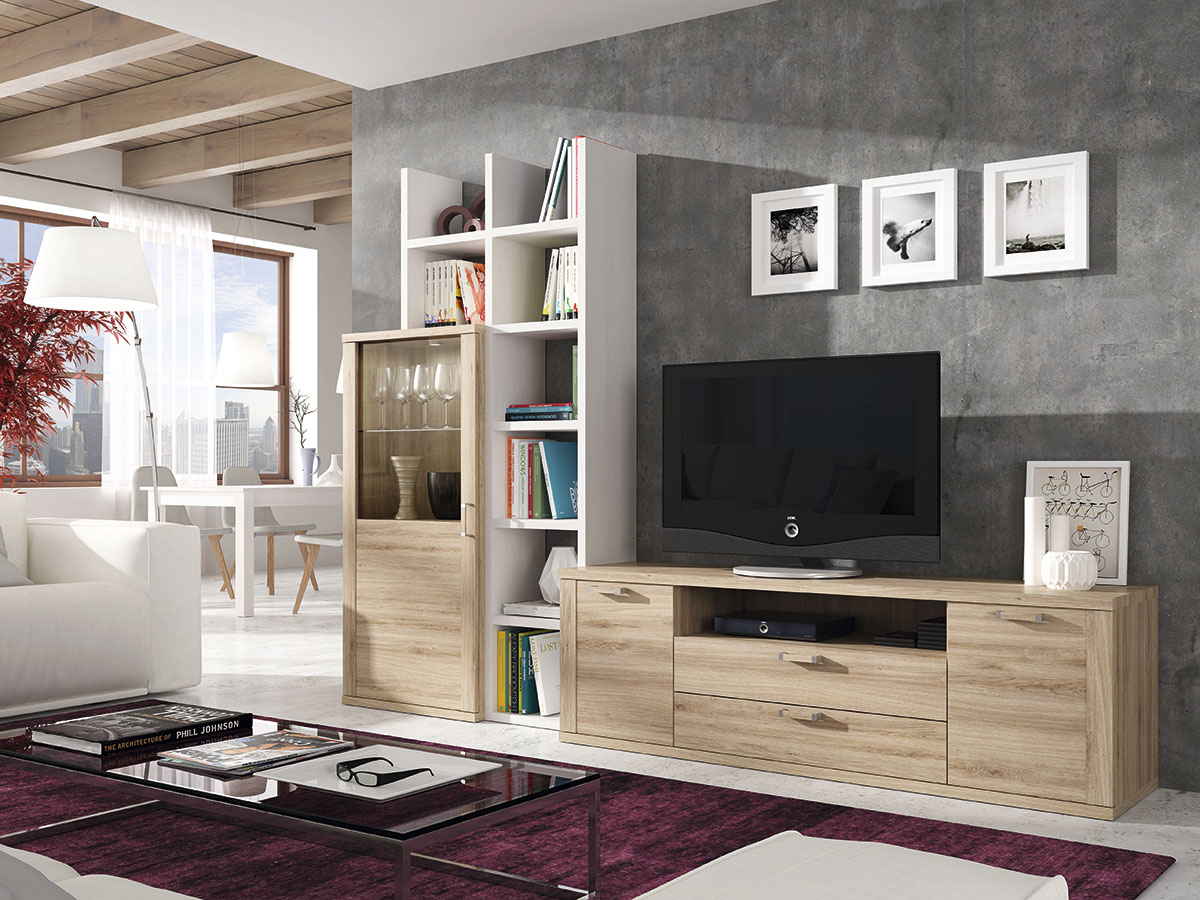 Mueble Salon Tv Comedor Madera Melamina Moderno Economico Blanco  -> Muebles Para Tv Modernos 2017