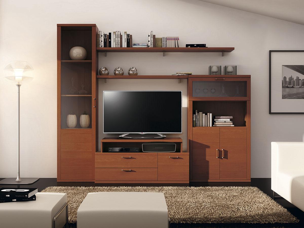 Mueble Salon Tv Comedor Madera Melamina Moderno Economico Cerezo  -> Muebles Para Tv Modernos 2017