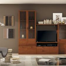 Salones de dise o actual y funcional fabricados por for Mueble tv economico