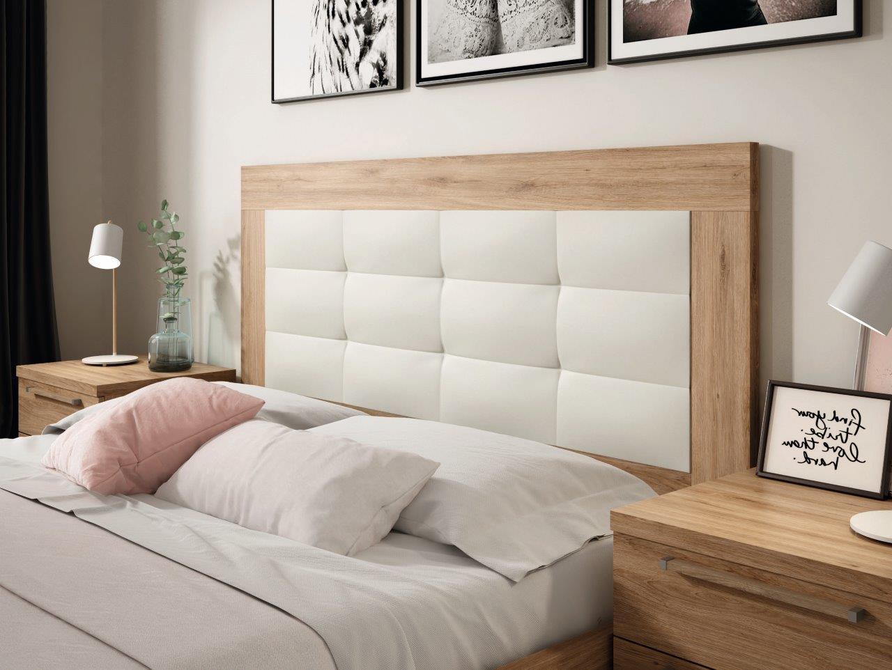 Mueble dormitorio detalle cabezal madera melamina moderno for Dormitorio roble moderno