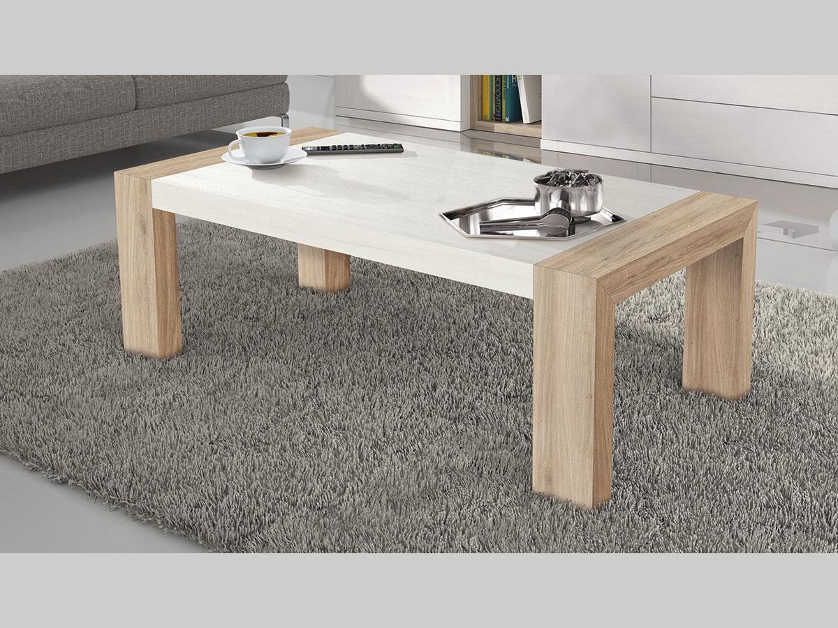 Mueble mesa centro elevable comedor madera melamina moderno economico blanco roble muebles ramis - Mesa salon roble ...