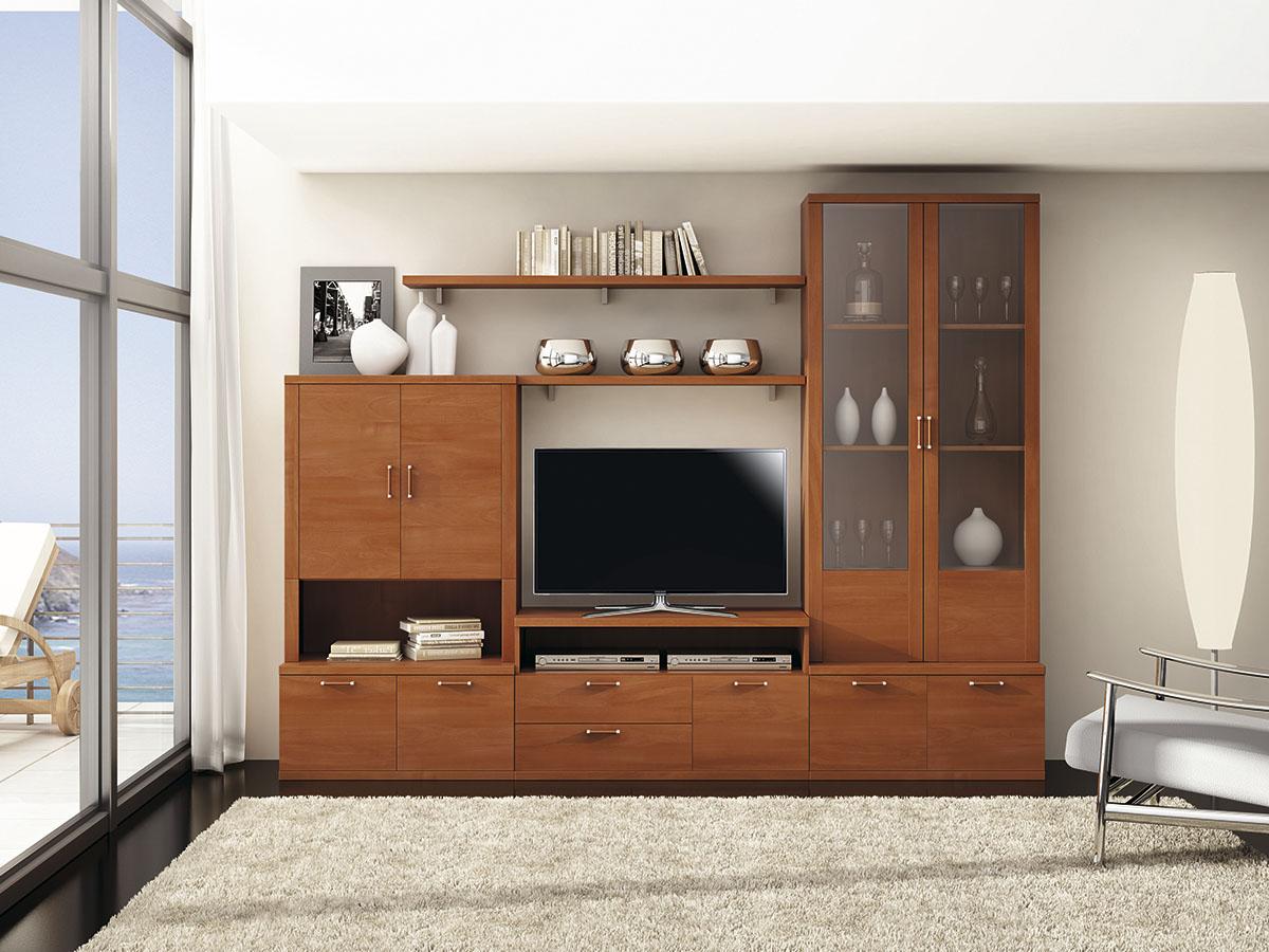mueble-salon-tv-comedor-madera-melamina-moderno-economico-cerezo ...