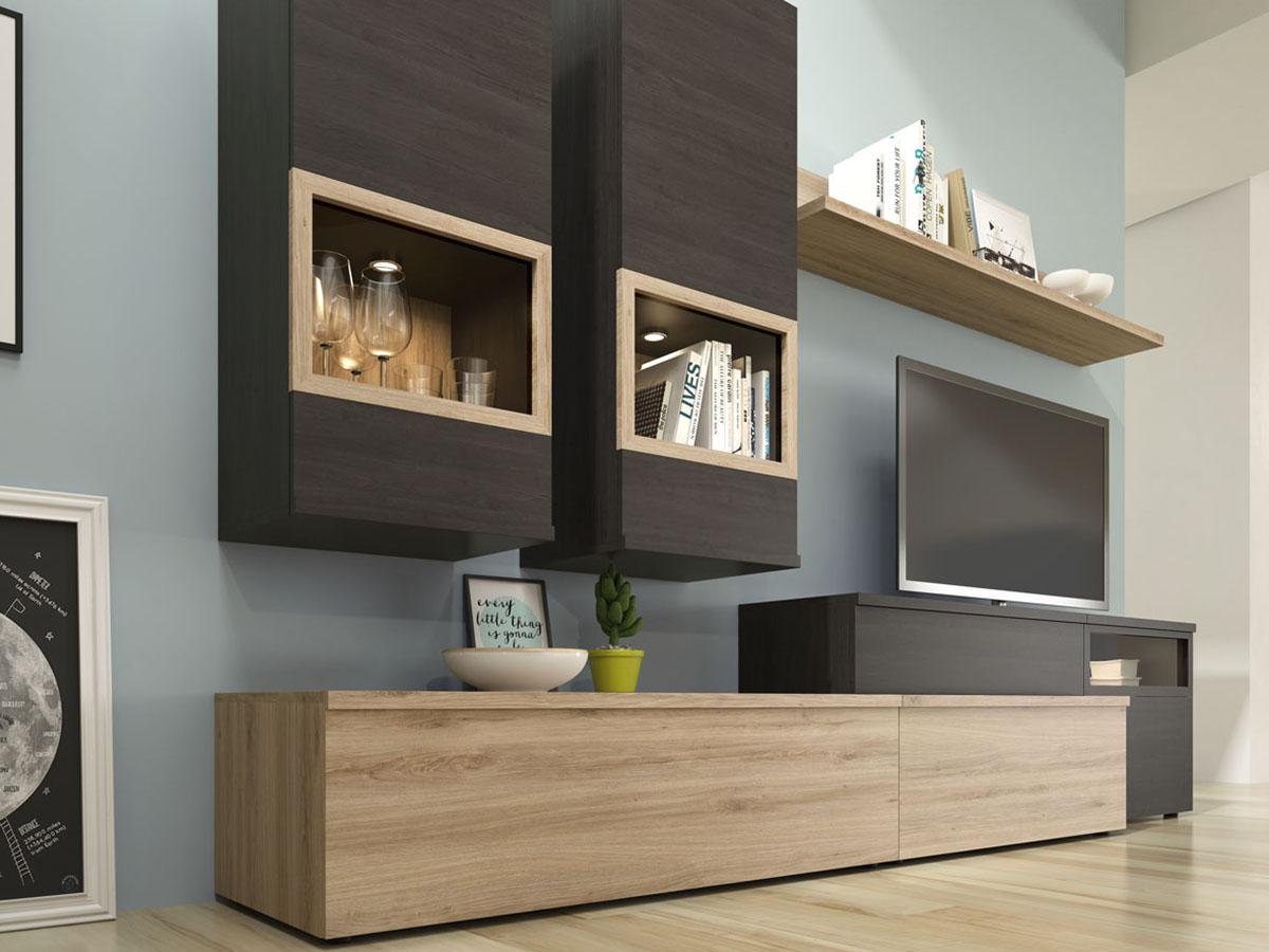 mueble-salon-tv-comedor-madera-melamina-moderno-economico-roble ...