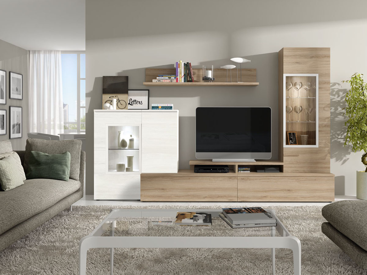 mueble-salon-tv-comedor-madera-melamina-moderno-economico ...