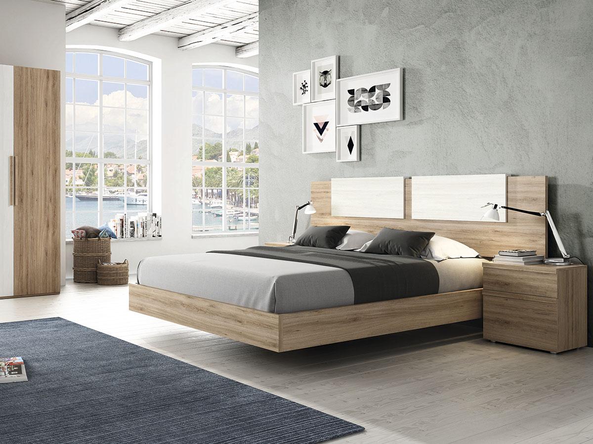 Mueble dormitorio cama mesita armario madera melamina - Muebles dormitorio moderno ...